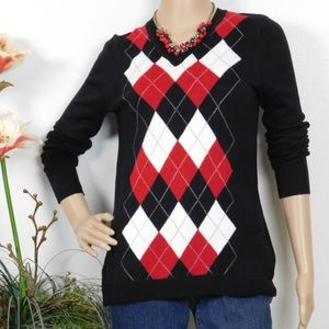 Argyle V-neck Pullover Sweater Black Red Ivory XS